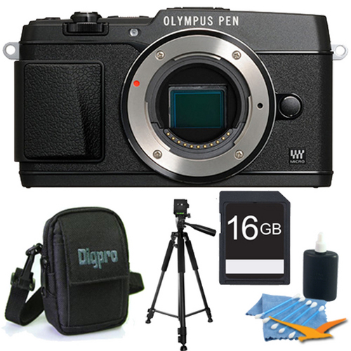Olympus PEN E-P5 16MP Compact System Camera (Black)(Body Only) 16GB Memory Kit