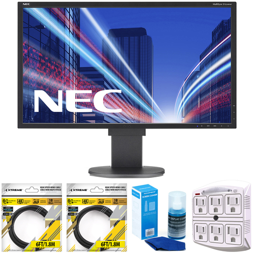 NEC 21.5 Inch Screen LED-Lit FHD Monitor EA224WMi-BK with Cleaning Bundle