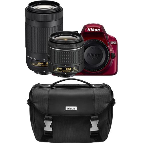 Nikon D3400 24.2MP DSLR Camera Red w/ AF-P 18-55 VR & 70-300mm Lens Refurb + Case Kit