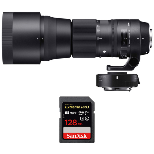 Sigma 150-600mm F5-6.3 Contemporary Lens w/ Teleconverter Kit +128GB Memory Card