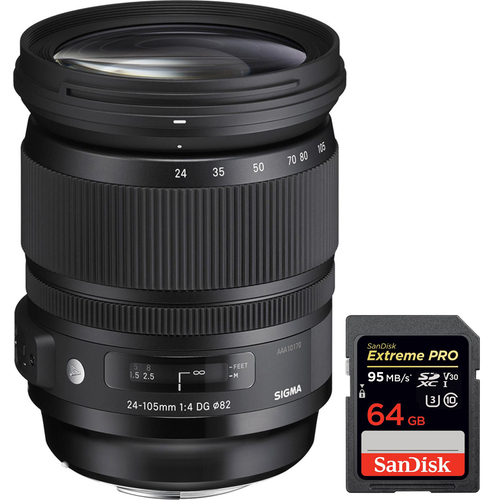 Sigma 24-105mm F/4 DG HSM A-Mount ART Lens for Sony SLR with 64GB Memory Card