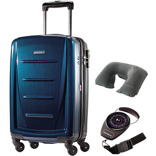 Samsonite Winfield 2 Fashion HS Spinner 20` Deep Blue with Traveling Bundle