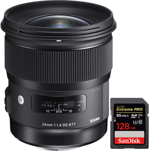 Sigma 24mm f/1.4 DG HSM Wide Angle Lens for Nikon DSLR Camera +128GB Memory Card