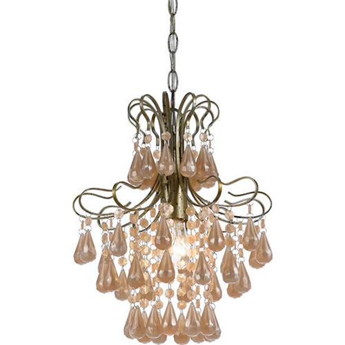 Elements Tiffany Pink Pearl Mini Chandelier 1-60W Standard Bulb 14 HX12 D