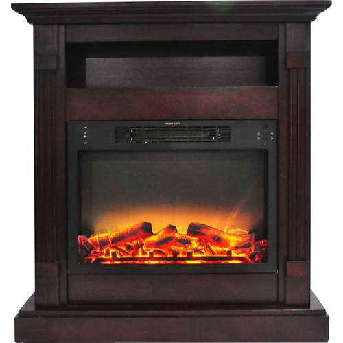 Cambridge 33.9 x10.4 x37  Sienna Fireplace Mantel with Logs and Grate Insert