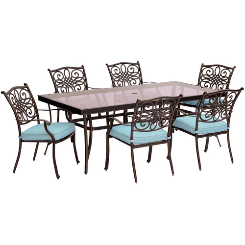 Hanover Traditions 7PC Dining Set: 6 Chairs (Blue) and 42 x84  Glass Table