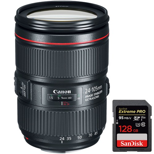 Canon EF 24-105mm f/4L IS II USM Standard Zoom Lens + SDXC 128GB Memory Card