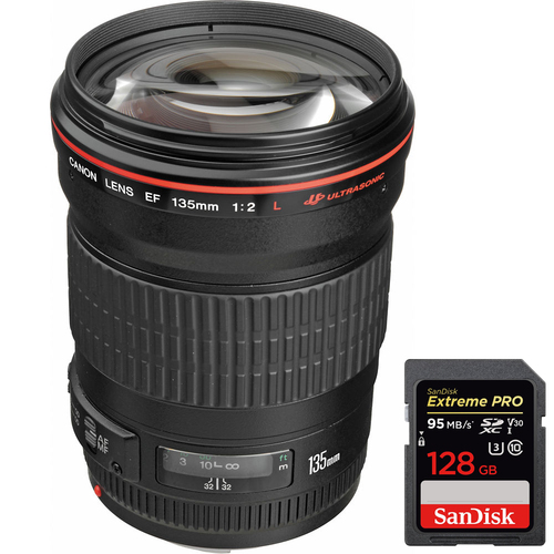 Canon 135mm f/2.0L USM Telephoto Lens for Canon DSLR + SDXC 128GB Memory Card