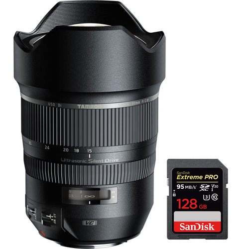 Tamron A012 SP 15-30mm F/2.8 Ultra-Wide Angle Lens for Canon + 128GB Memory Card