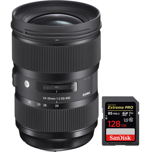 Sigma 24-35mm F2 DG HSM Standard-Zoom ART Lens for Canon with 128GB Memory Card