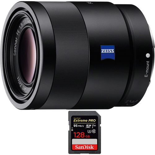 Sony Sonnar T* FE 55mm F1.8 ZA Full Frame E-Mount Lens with 128GB Memory Card