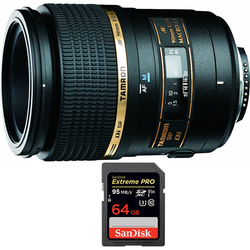 Tamron 90mm F/2.8 DI SP AF Macro 1:1 Lens For Canon EOS with 64GB Memory Card