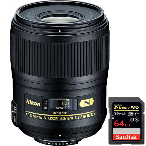 Nikon AF-S Micro-NIKKOR 60mm f/2.8G ED Lens + Extreme Pro SDXC 64GB UHS-1 Memory Card