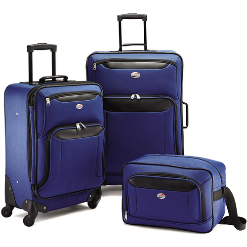 American Tourister Brookfield 3 Piece Luggage Set,21` Spinner, 25` Spinner, Boarding Bag (OPEN BOX)