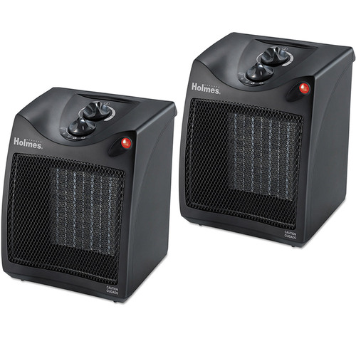 Holmes 2 Pack Compact Ceramic Heater with Adjustable Thermostat Kit - HCH4051-UM