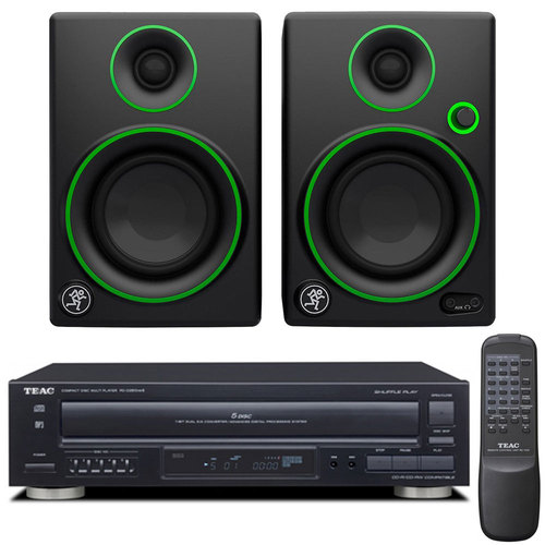 Teac PD-D2610MKII 5-Disc Carousel CD Player + Remote w/ Mackie CR3 3` Monitor Pair