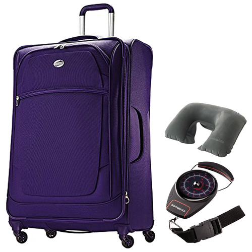 American Tourister iLite Xtreme Spinner 29 - Purple w/ Travel Bundle