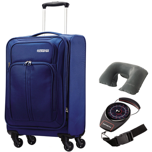 American Tourister Splash Spin LTE 20` Blue Spinner Luggage w/ Travel Bundle