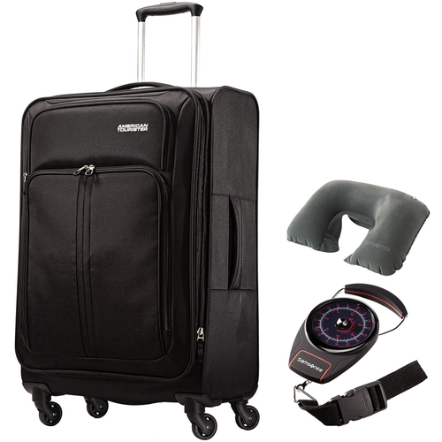 American Tourister Splash Spin LTE 24` Black Spinner Luggage w/ Travel Bundle