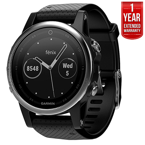 Garmin Fenix 5S Multisport 42mm GPS Watch Silver w/Black Band +1 Year Extended Warranty