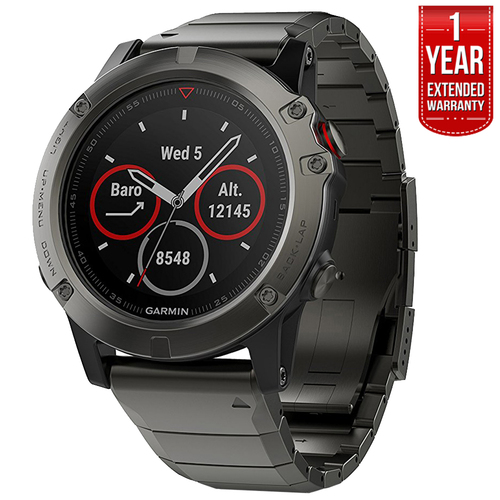 Garmin Fenix 5 Sapphire Multisport GPS Watch Gray w/Metal Band +1Year Extended Warranty