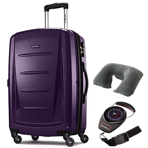 Samsonite Winfield 2 Fashion HS Spinner 28` Purple with Traveling Bundle