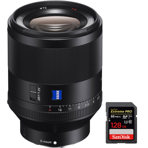 Sony Zeiss Prime Planar T* FE 50mm F1.4 ZA E-Mount Lens w/ 128GB Memory Card