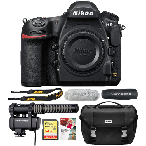 Nikon D850 45.7MP FX-Format DSLR Camera Body Only Black + Reporter Bundle