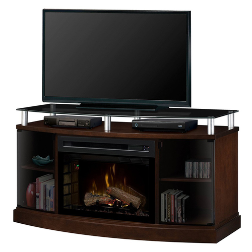 Dimplex Windham Electric Fireplace Media Console - With Logs - Mocha