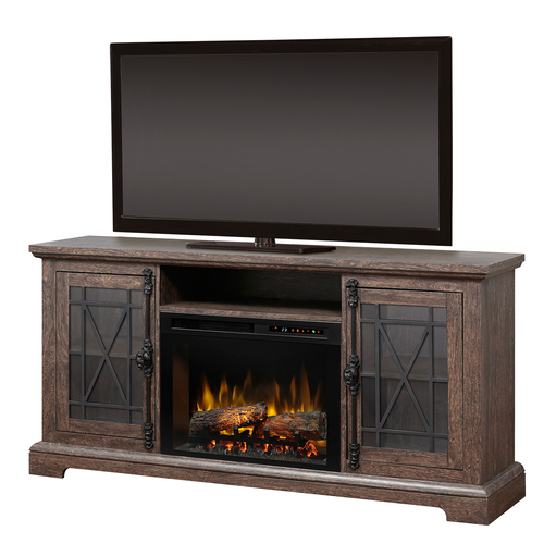 Dimplex Natalie Electric Fireplace & Media Console - Logs, Elm Brown