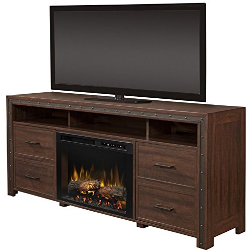Dimplex Thom Electric Fireplace & Media Console - Logs, Grainery Brown