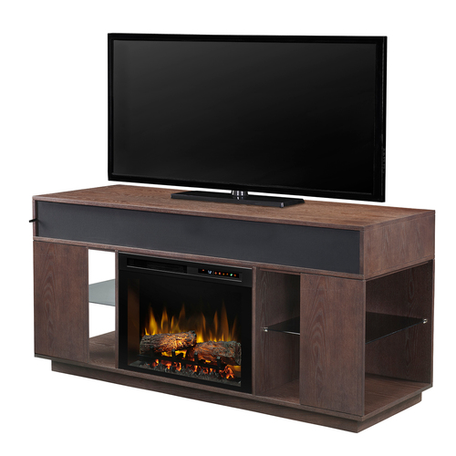 Dimplex Audio Flex Lex Electric Fireplace Media/Stereo Console - Logs, Grey Cerused