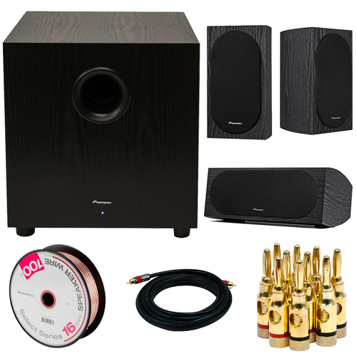 Pioneer SW-10 400W Powered Subwoofer w/ Speakers + Accessory Bundle