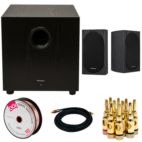 Pioneer SW-10 400W Powered Subwoofer w/ 4` Bookshelf Speakers Bundle