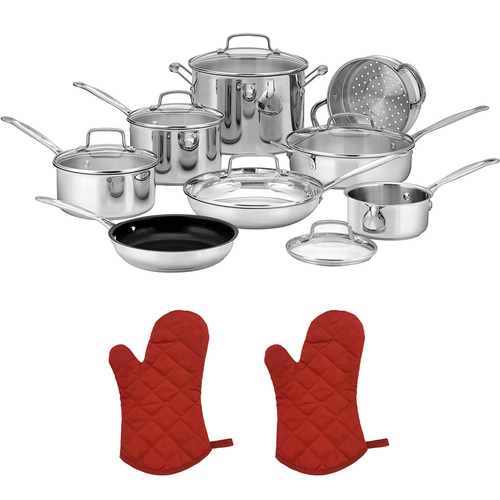 Cuisinart 77-14N Chef's Classic Stainless 14-Piece Set, Stainless Steel w/2 Oven Mitts