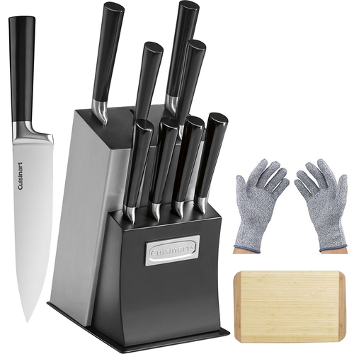 Cuisinart 11 Pcs Vetrano Collection Cutlery Knife Block Set Black w/Gloves & Cutting Board