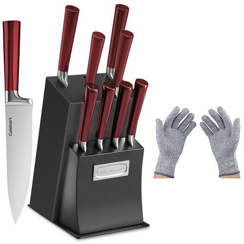 Cuisinart 11 Pcs Vetrano Collection Cutlery Knife Block Set, Red w/Safety Gloves