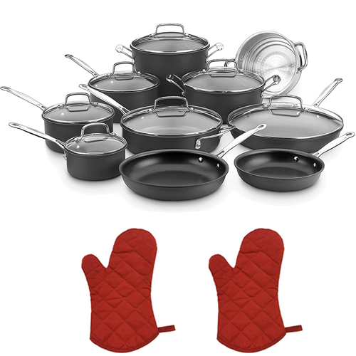 Cuisinart Chef's Classic Non-Stick Hard Anodized 17 Piece Set Black w/2 Oven Mitts
