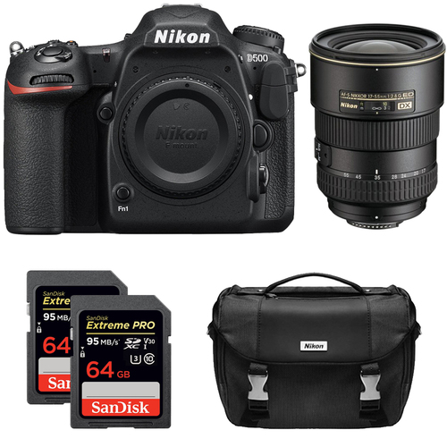 Nikon D500 CMOS DX DSLR Camera w/ 4K Video (Body) + 17-55mm ED Zoom Lens Kit
