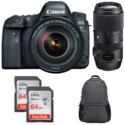 Canon EOS 6D Mark II DSLR Camera w/ EF 24-105mm USM + Sigma 100-400mm Lens Bundle