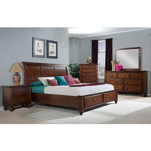 Cambridge Newport Storage 5 PC: Queen Bed Dresser Mirror Chest Nightstand - 98110A5Q1-CH