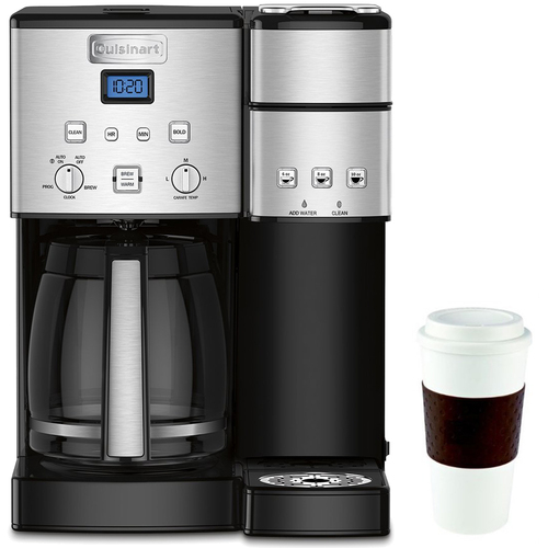Cuisinart 12-Cup Coffee Maker and Single-Serve Brewer (SS-15) w/16 Oz Reusable Mug Black