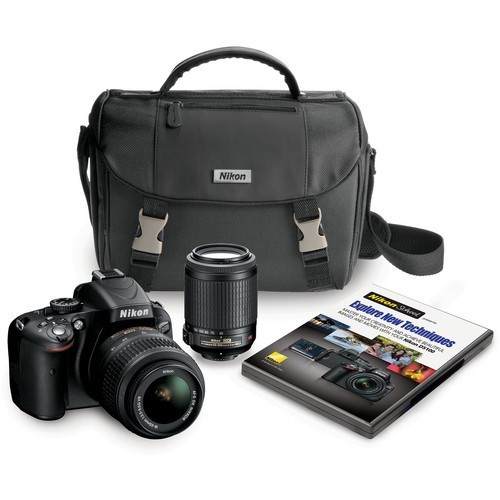 Nikon D5100 16.2MP Digital SLR w/ 18-55mm VR Lens & 55-200mm VR Lens Nikon Case, DVD