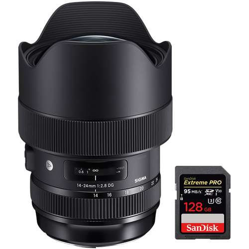 Sigma 14-24mm f/2.8 DG HSM Art Lens Ultra Wide Angle for Canon EF Mount + 128GB Card