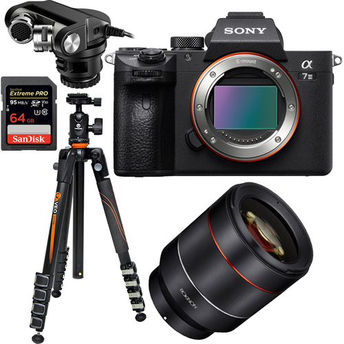 Sony a7III Mirrorless Digital Camera with Rokinon 50mm Lens Pro 4K Cine Bundle