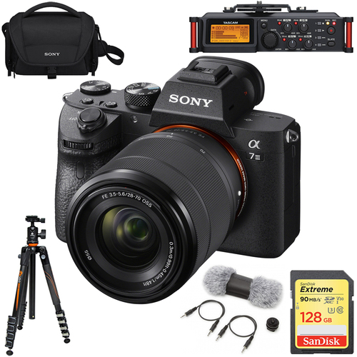 Sony a7III Full Frame Mirrorless Lens Camera with 28-70mm + Recorder Bundle
