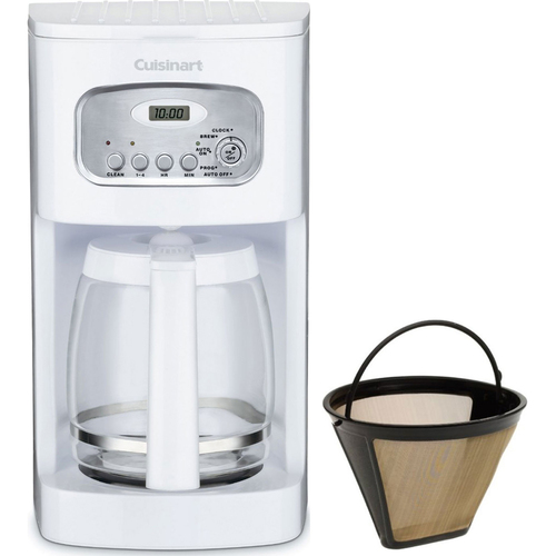 Cuisinart Brew Central 12-Cup Programmable Coffeemaker White+2 Gold Tone Filters