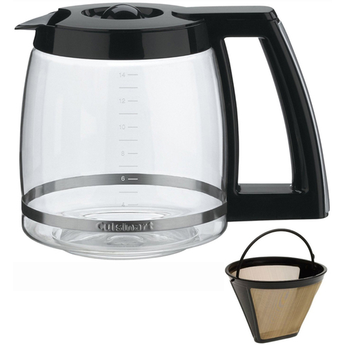 Cuisinart DCC-2200RC 14-Cup Replacement Glass Carafe, Black and Gold Tone Filter