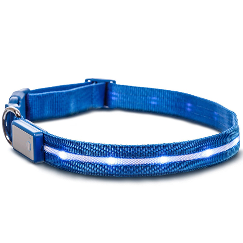 18-Inch LED Dog Collar w/3 Light Modes for Night Safety, Battery-Powered - Blue