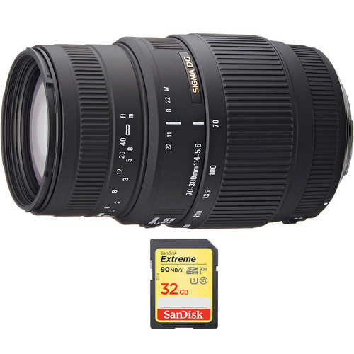 Sigma 70-300mm SLD DG Macro Telephoto Lens for Nikon DSLRs with 32GB Memory Card